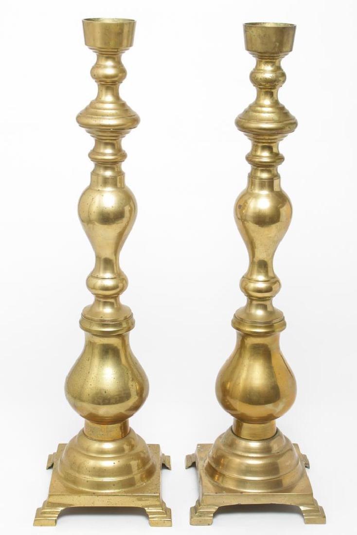 Oversize Ecclesiastical Brass Candlesticks, Pair