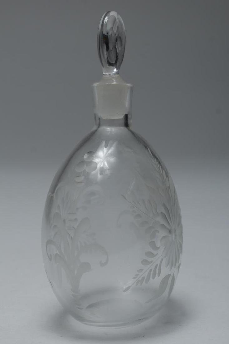 Antique Murano Glass Perfume Flask, Hand-Engraved - 2