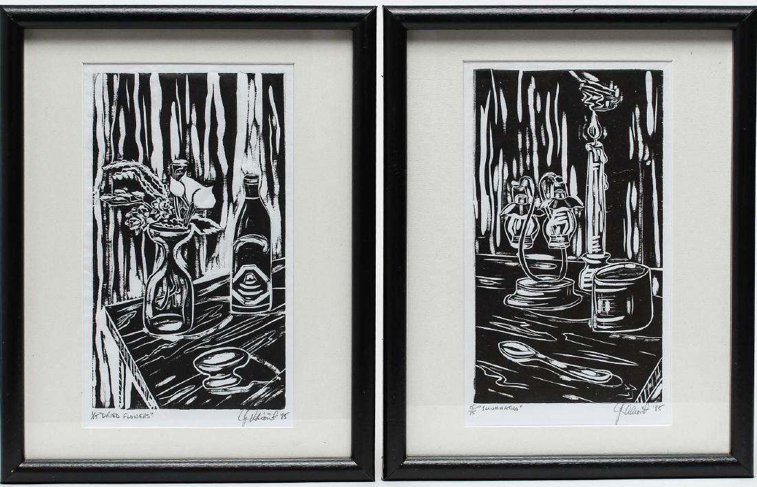 Illegibly Signed- Pair of Woodblock Prints