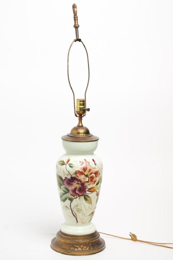 Porcelain Vase Lamp, Floral-Painted