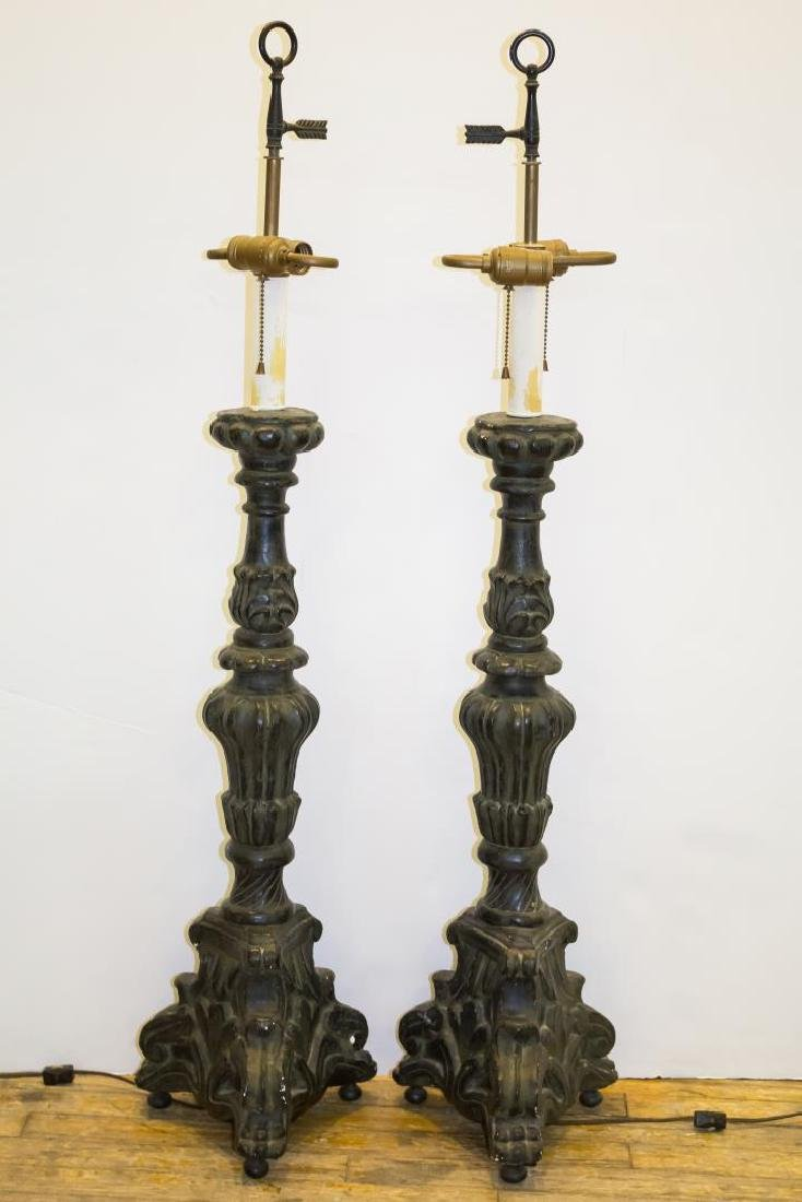 Rococo-Manner Lamps, Pair in Vintage Painted Metal