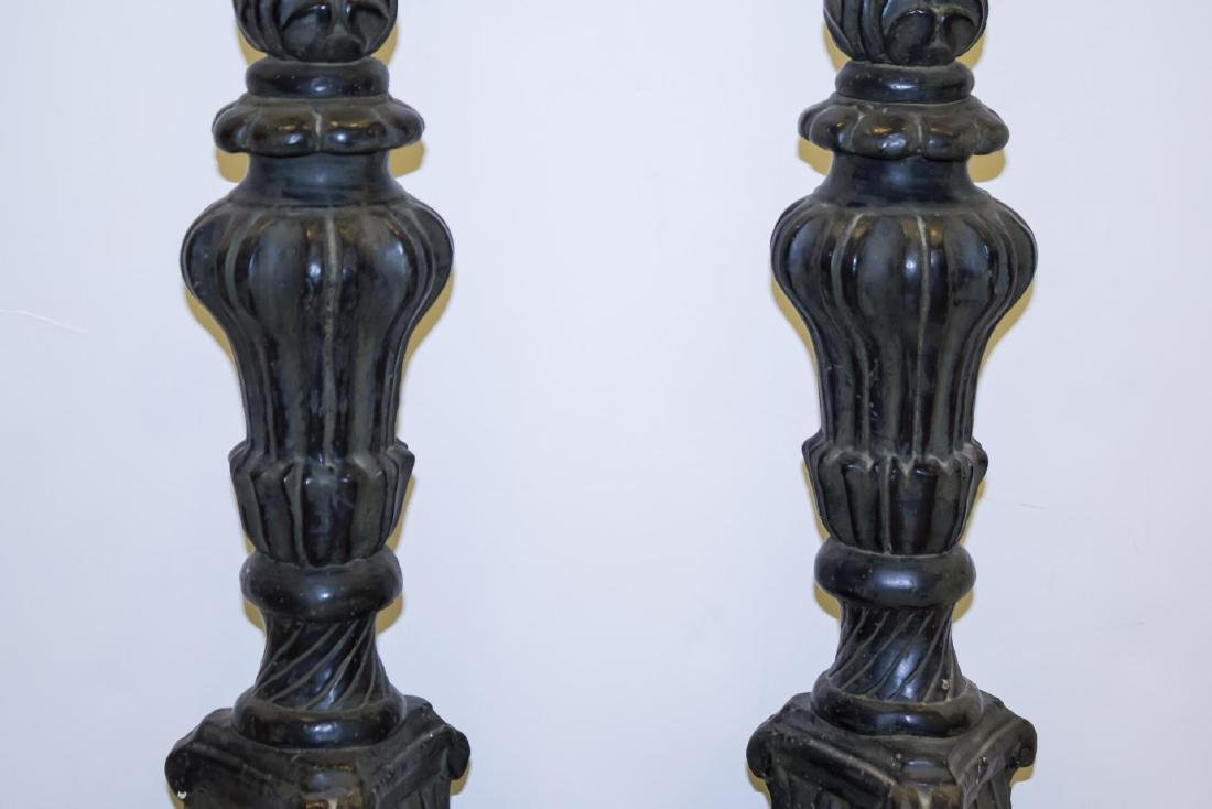 Rococo-Manner Lamps, Pair in Vintage Painted Metal - 3