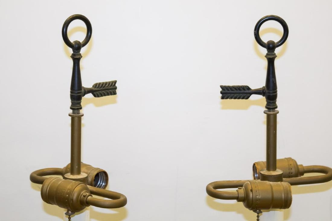 Rococo-Manner Lamps, Pair in Vintage Painted Metal - 5