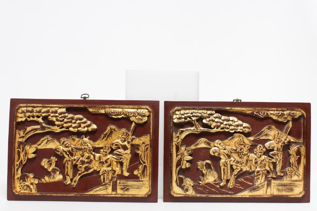Chinese Carved Wood Panels, Pair