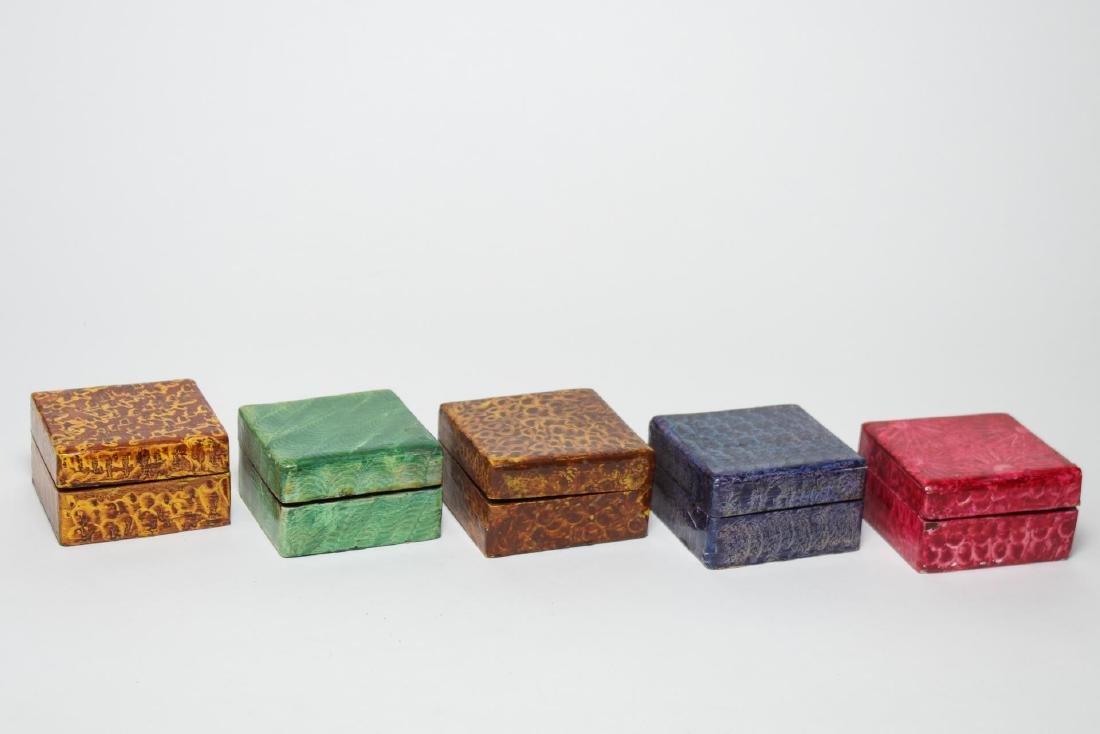 Folk Art Boxes, Faux Grain-Painted, Set of 5