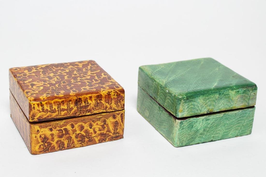 Folk Art Boxes, Faux Grain-Painted, Set of 5 - 2