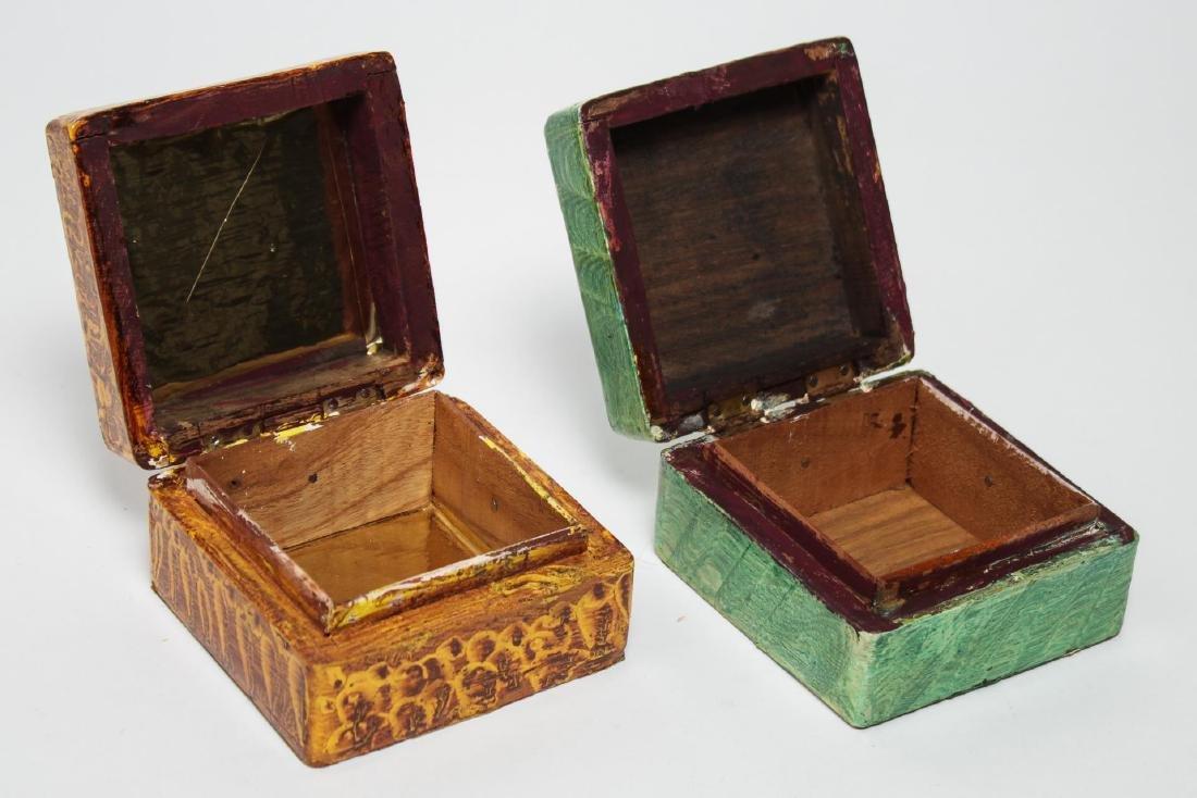 Folk Art Boxes, Faux Grain-Painted, Set of 5 - 3