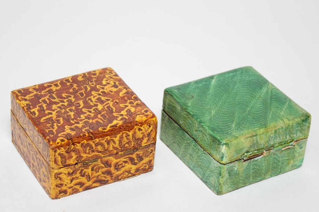 Folk Art Boxes, Faux Grain-Painted, Set of 5 - 4