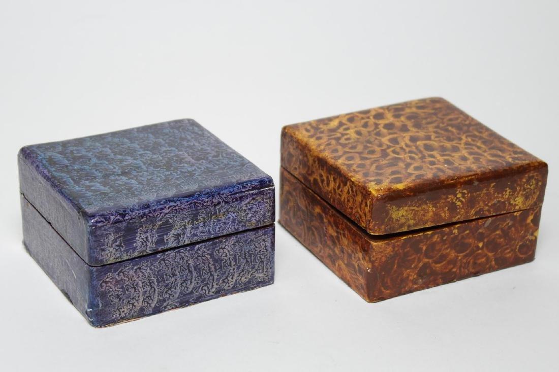 Folk Art Boxes, Faux Grain-Painted, Set of 5 - 5