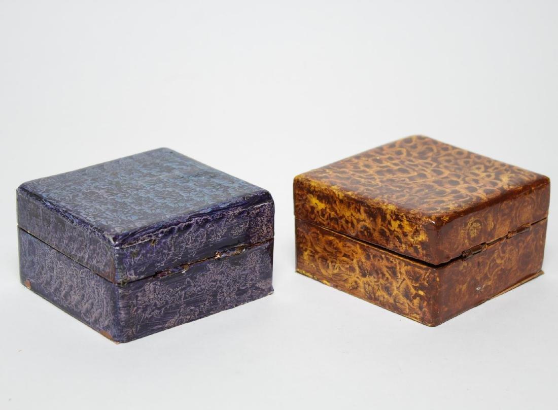 Folk Art Boxes, Faux Grain-Painted, Set of 5 - 6