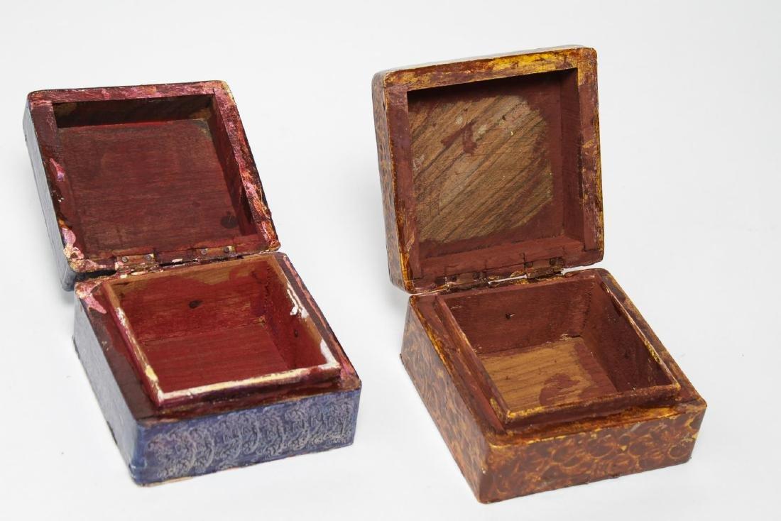 Folk Art Boxes, Faux Grain-Painted, Set of 5 - 7