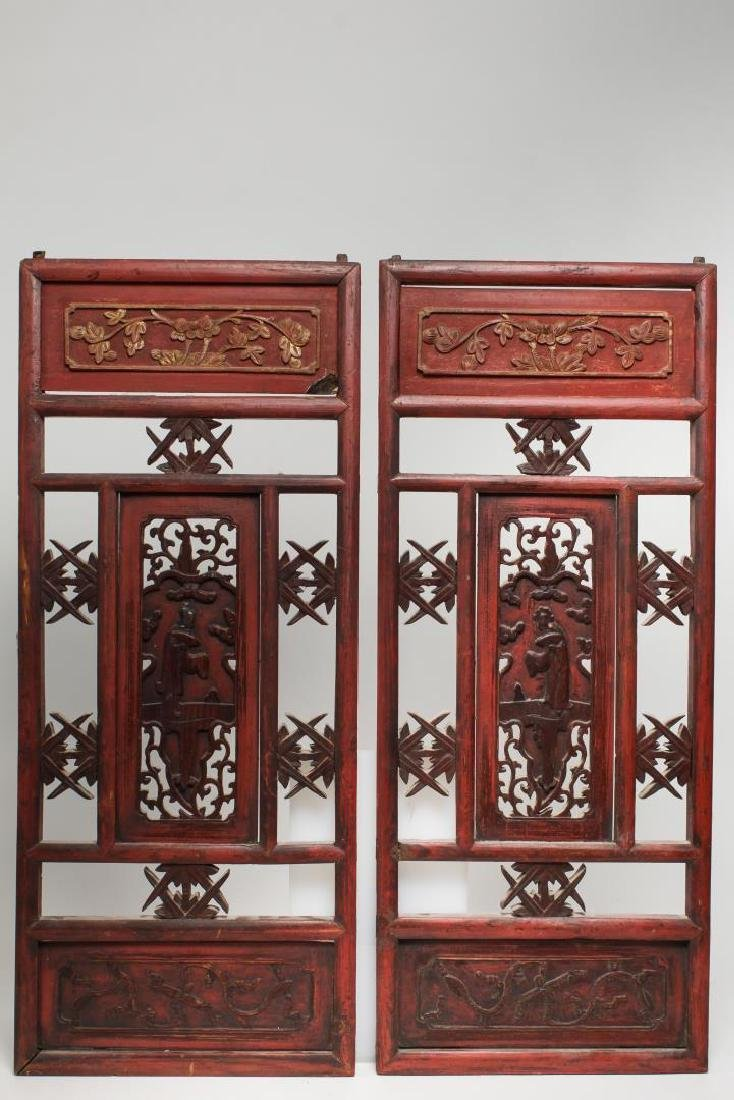Chinese Carved & Painted Wood Furniture Panels, 2
