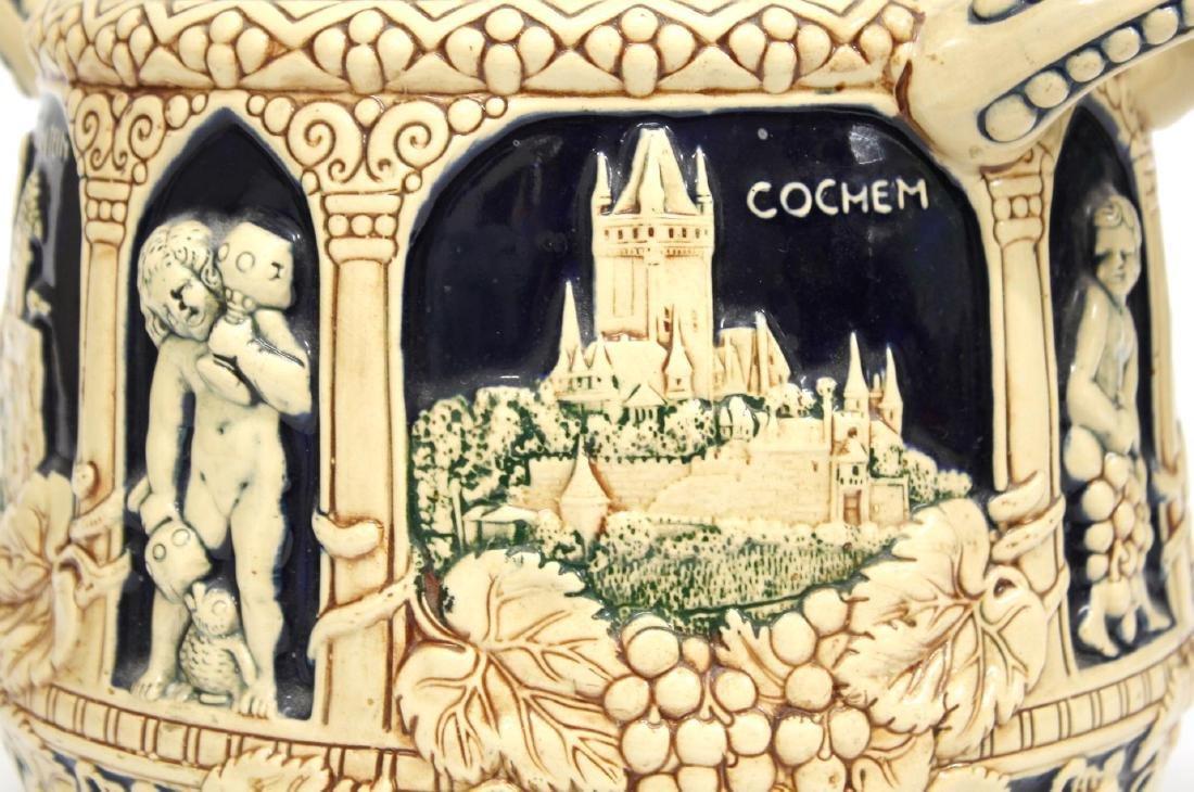 Vintage German Ceramic Wine Stoup with Castles - 2