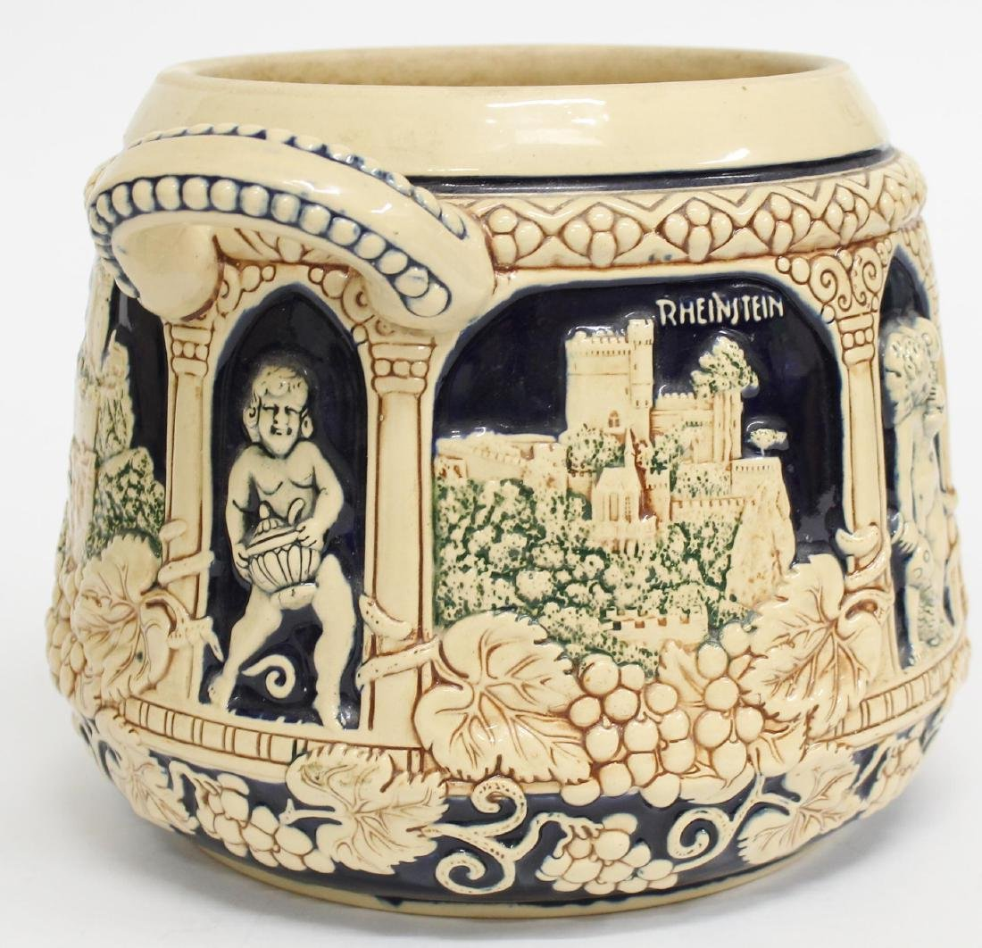 Vintage German Ceramic Wine Stoup with Castles - 5