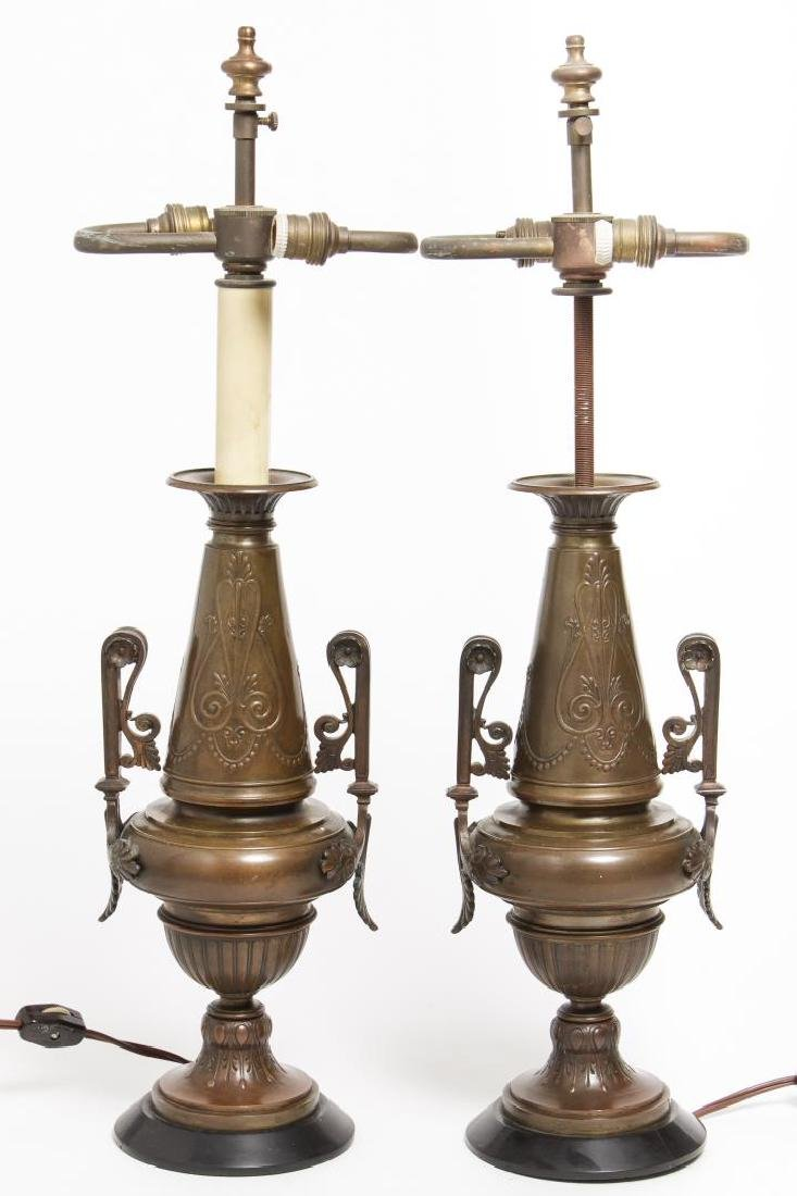 Neoclassical Bronze Urn Table Lamps, Pair