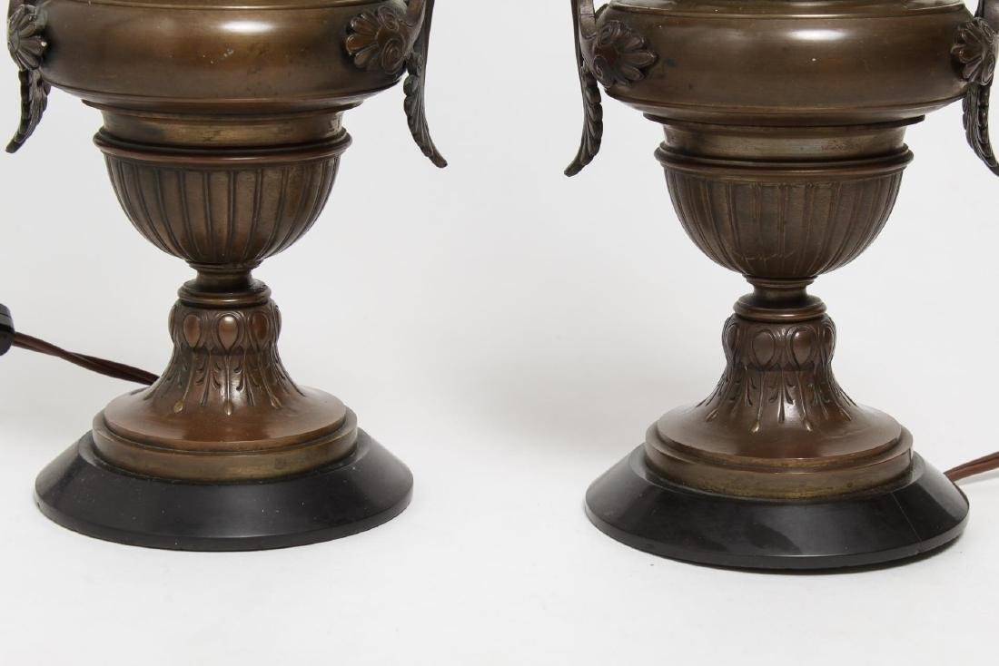 Neoclassical Bronze Urn Table Lamps, Pair - 3