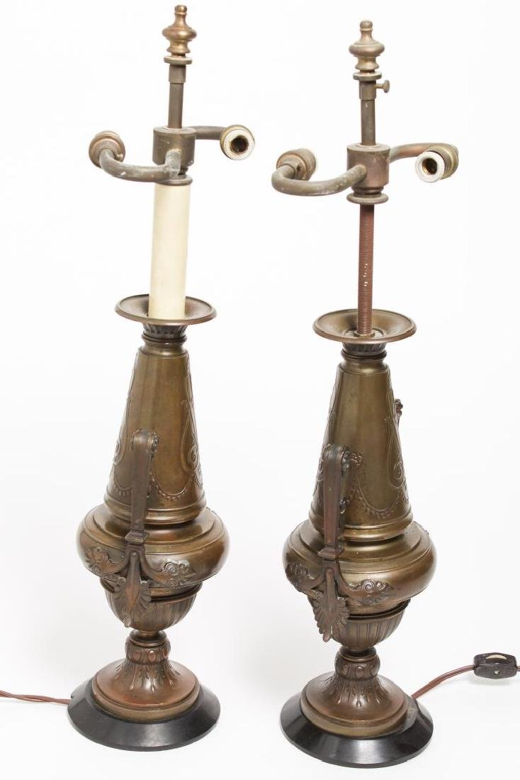 Neoclassical Bronze Urn Table Lamps, Pair - 4