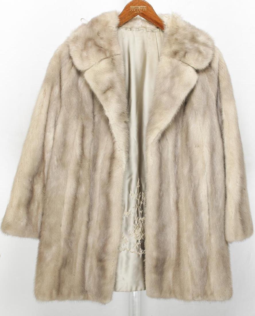 Woman's Mink Fur Coat, Silver or Azurene Color