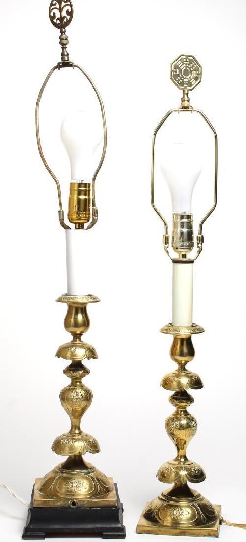 Brass Candlestick Lamps, Pair