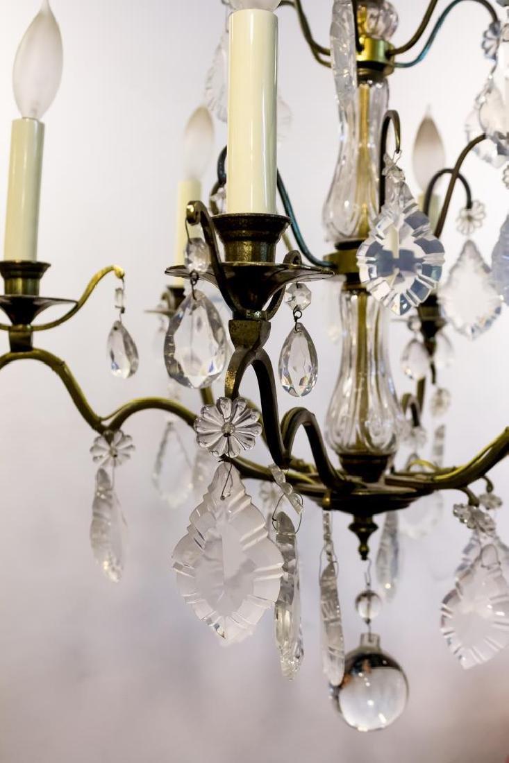 Gilt Metal & Crystal 6-Light 3-Tiered Chandelier - 2