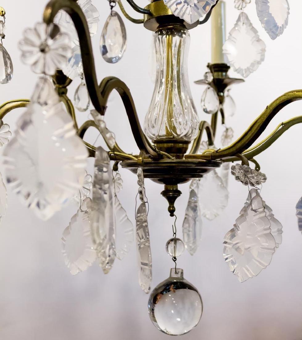 Gilt Metal & Crystal 6-Light 3-Tiered Chandelier - 3