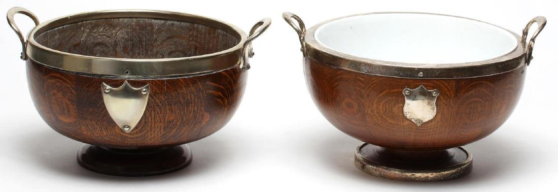 Victorian Antique English Oak Trophy Bowls