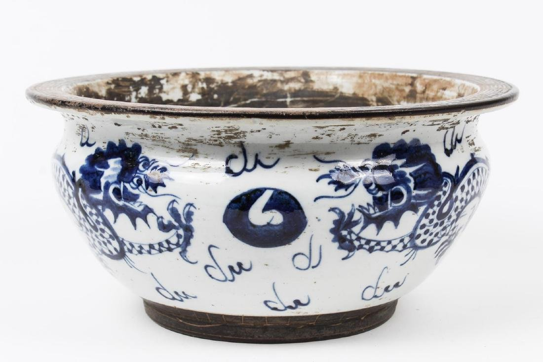 Asian Porcelain Bowl, Blue & White with Dragons - 3