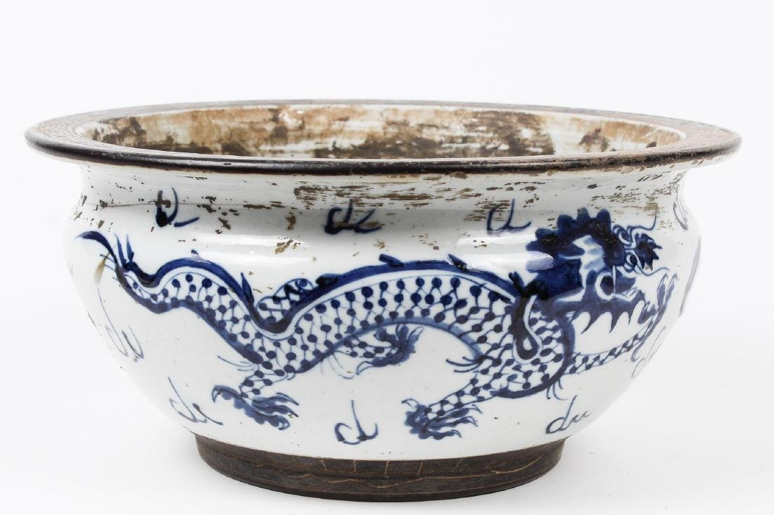 Asian Porcelain Bowl, Blue & White with Dragons - 4