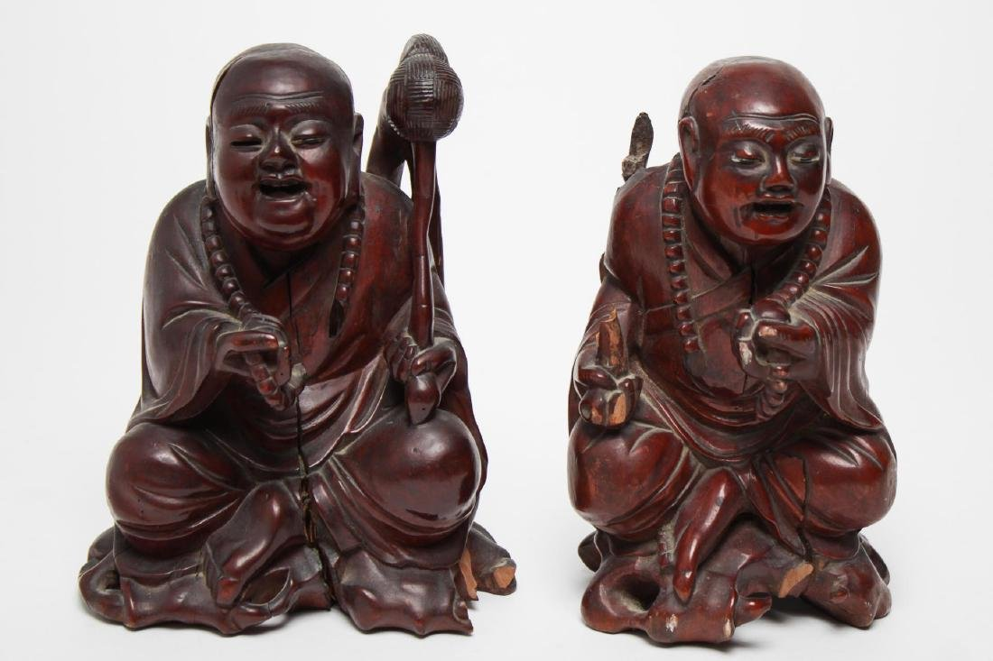 Chinese Carved Hardwood Pair of Buddhist Monks