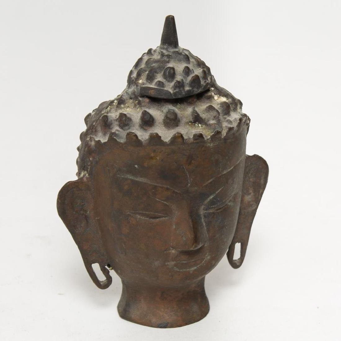 Asian Buddha Head Sculpture, in Cast Metal
