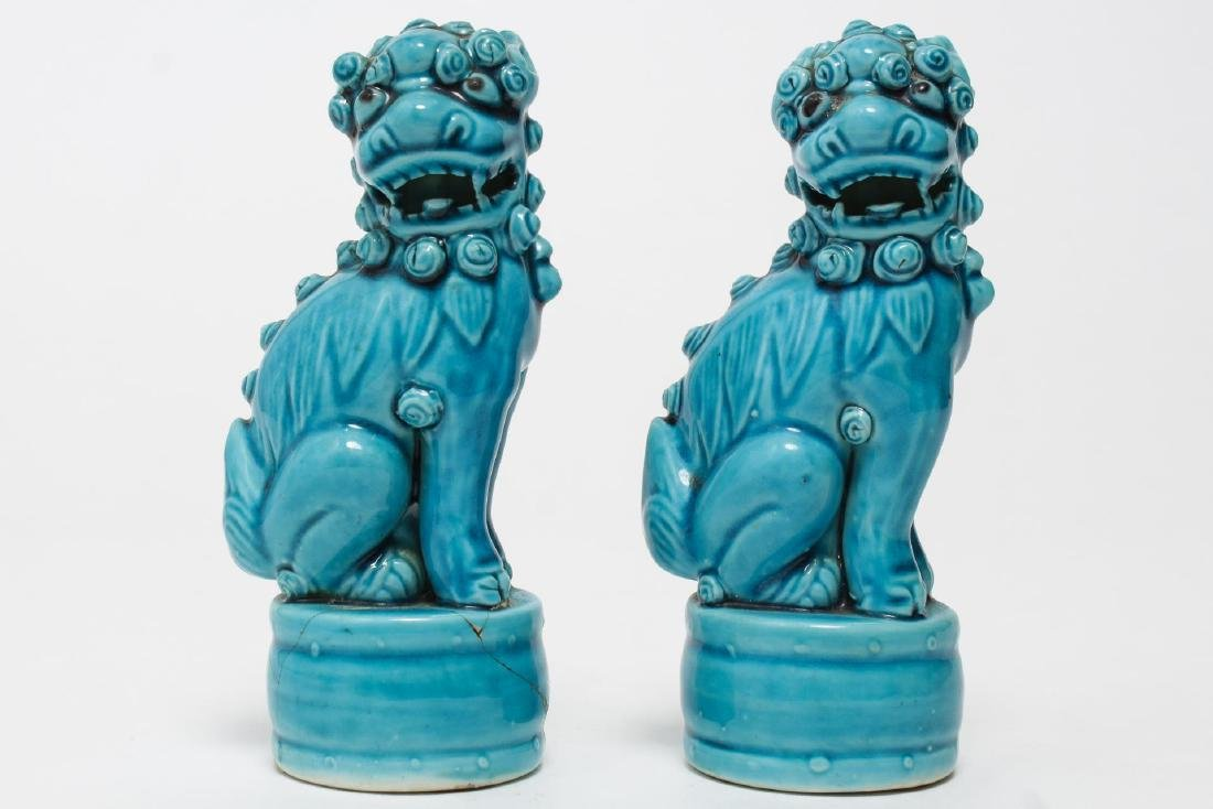 Chinese Turquoise-Glazed Pottery Foo Dogs, Pair