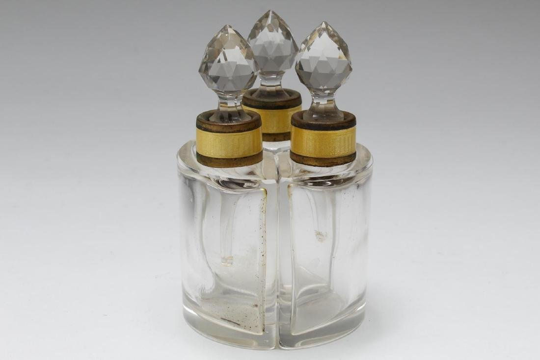 Austrian Glass & Enamel Fitted Perfume Flasks, 3