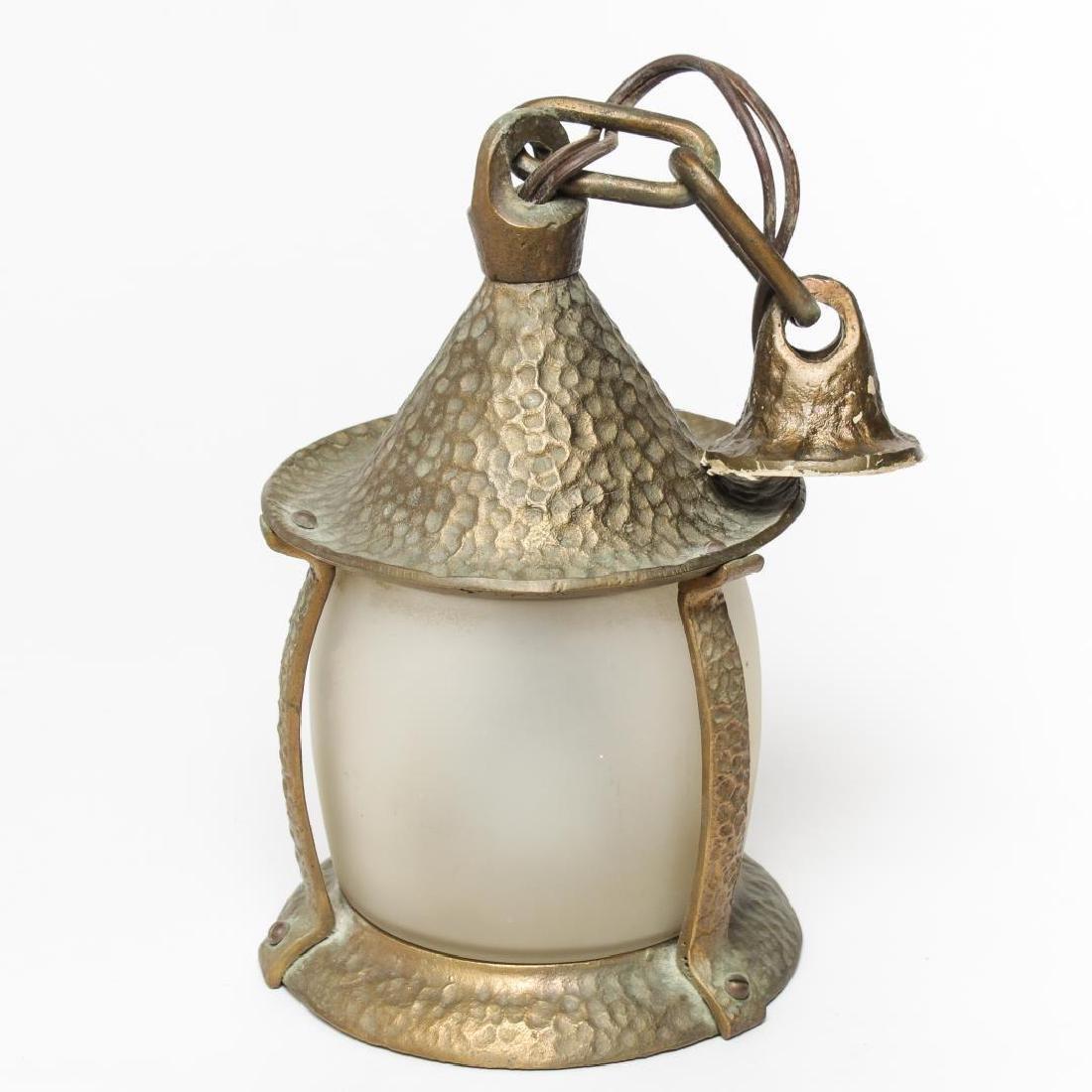 Hallway Lantern, Hammered Gilt Brass & Glass