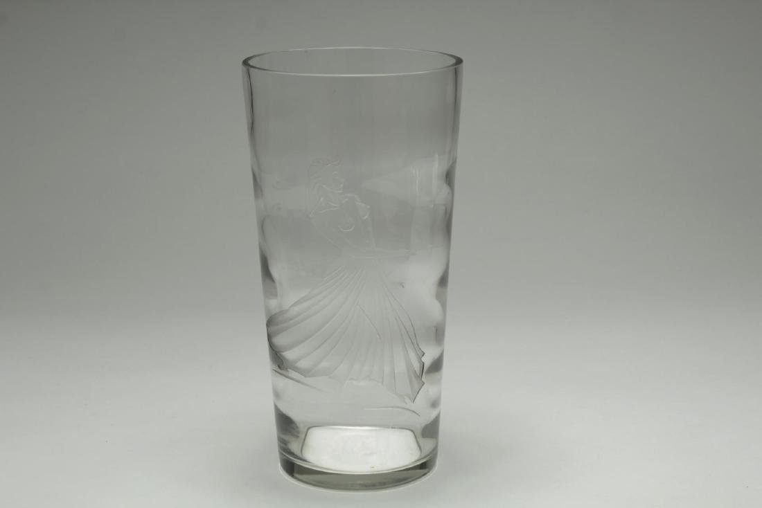Art Deco-Style Etched Crystal Vase