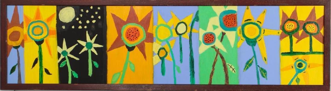 Folk Art Floral Panel Painting- Oil on Board