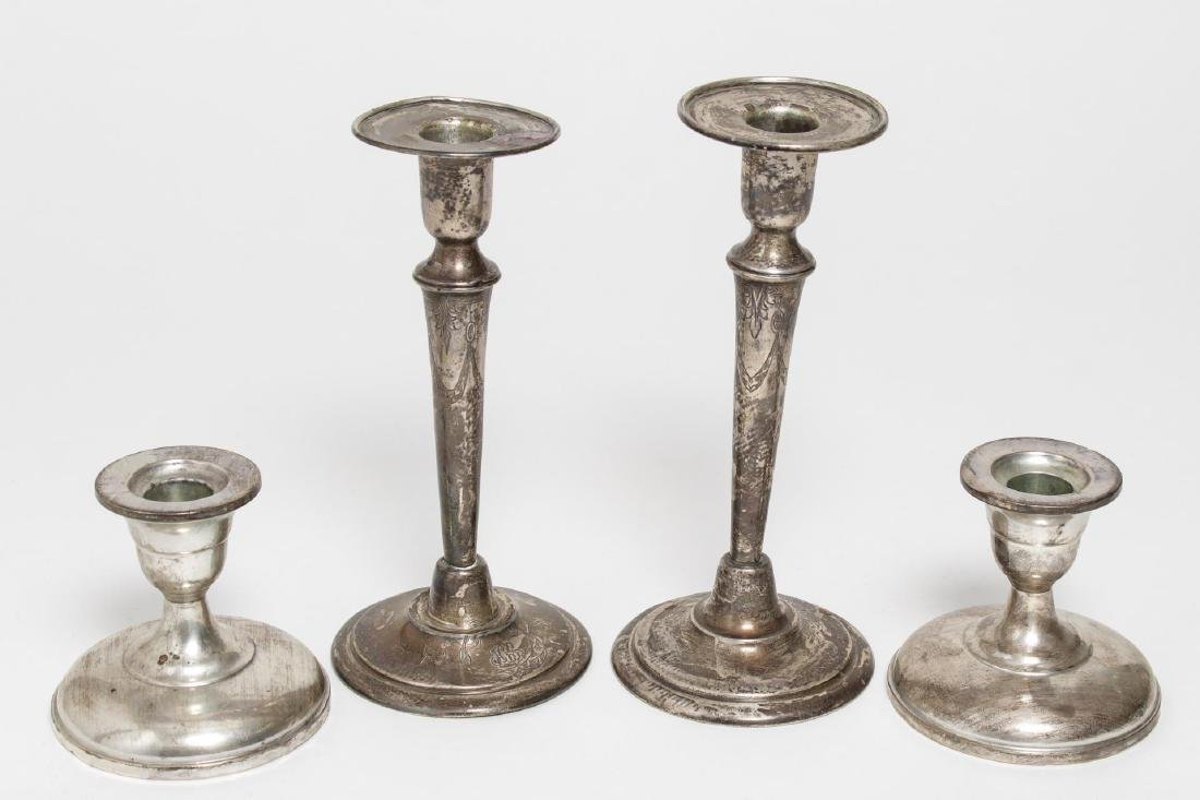 Sterling Silver Candlesticks, Weighted inc Barbour