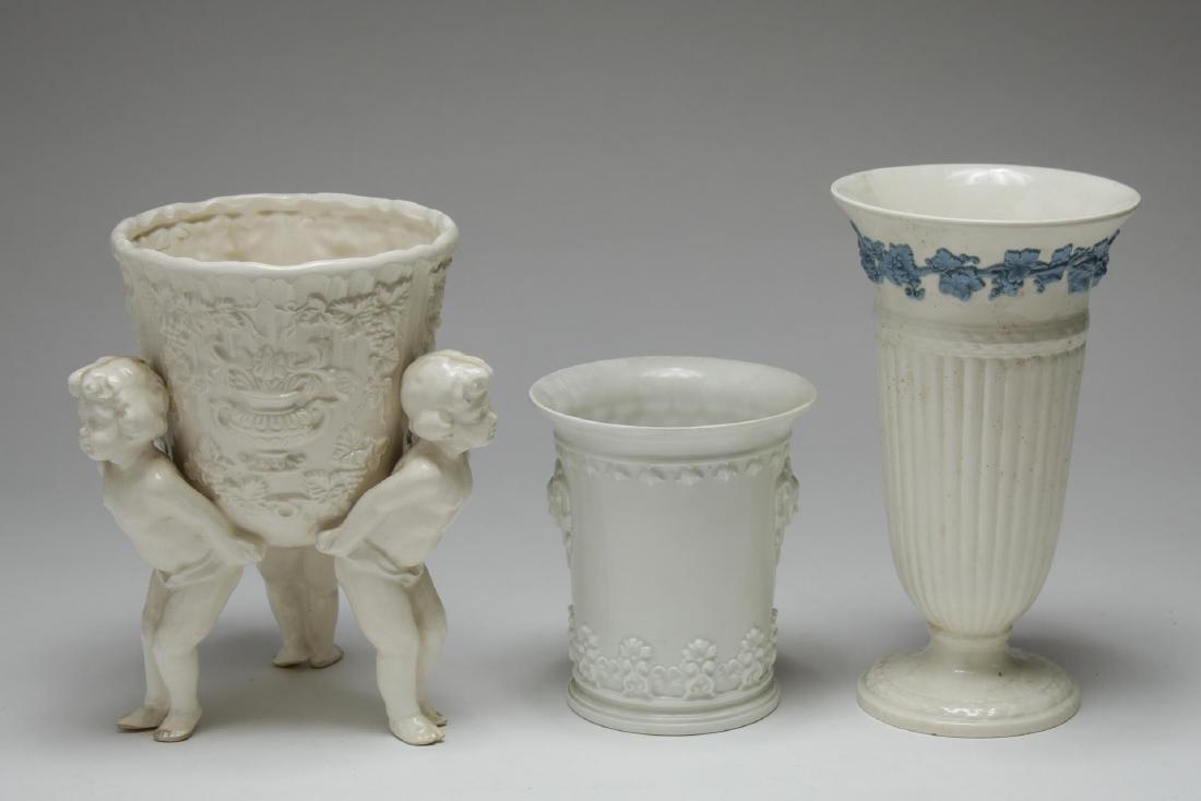 English & French White Porcelain Vases & Beaker