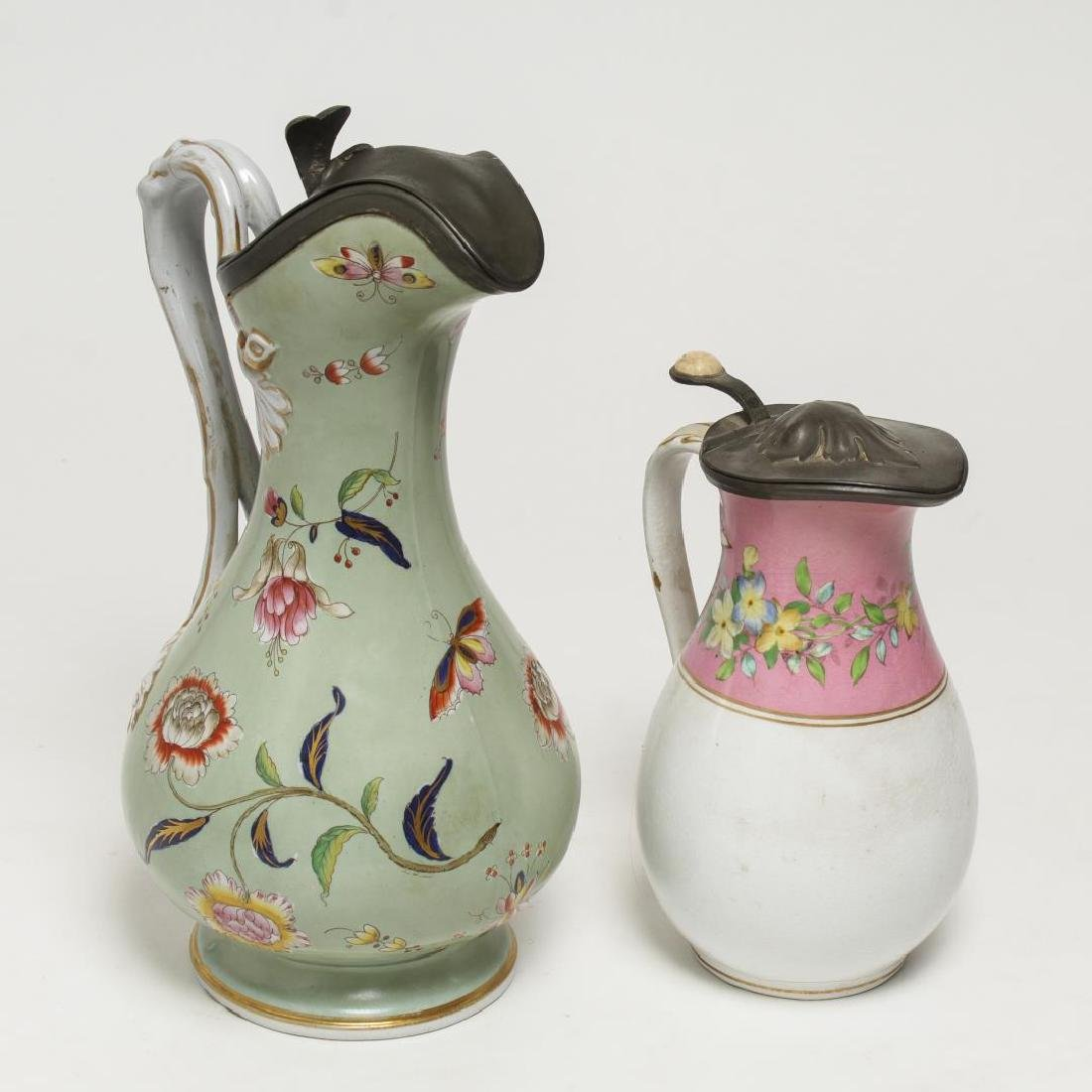 English Painted Porcelain & Pewter Table Jugs, 2