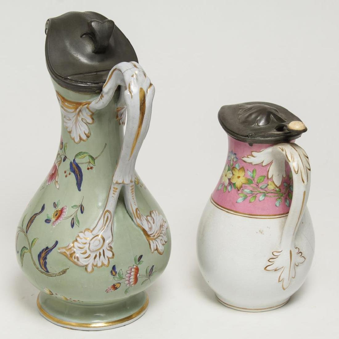 English Painted Porcelain & Pewter Table Jugs, 2 - 2