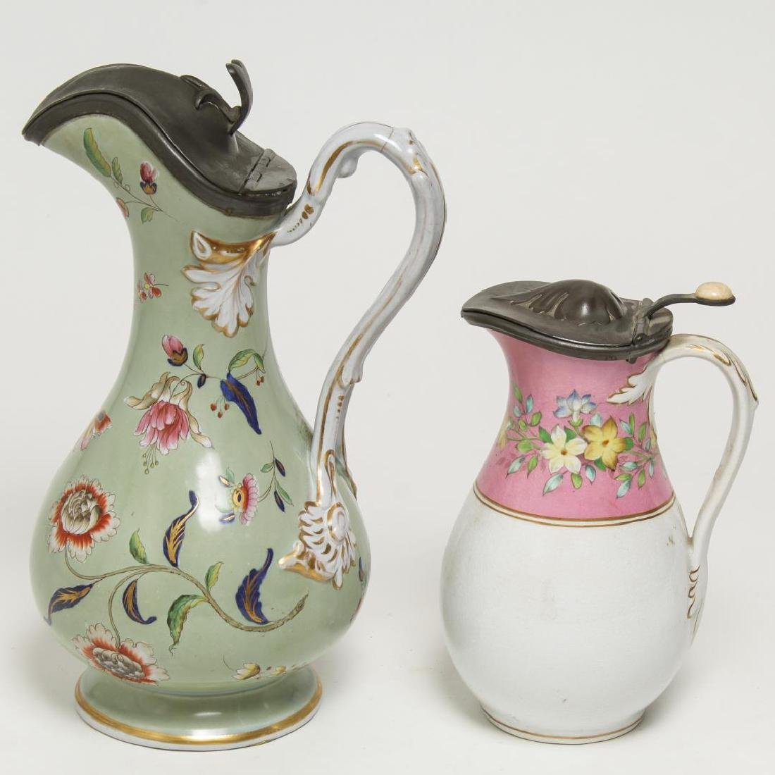 English Painted Porcelain & Pewter Table Jugs, 2 - 3