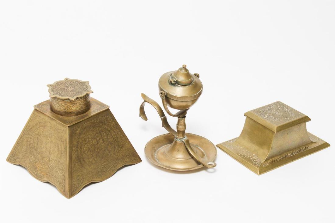 Victorian Brass Antique Inkwells, 3 - 2