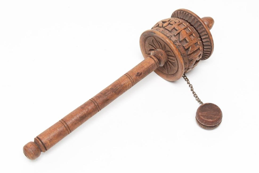 Tibetan Prayer Wheel, Hand-Carved Wood