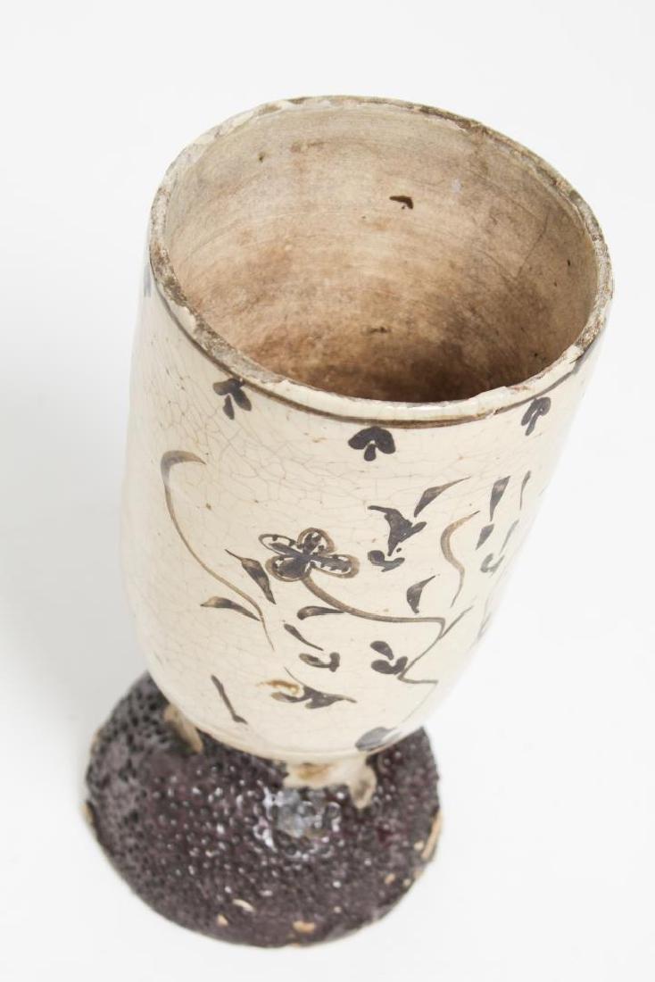 Japanese Raku-Glazed Pottery Vase, Antique - 5