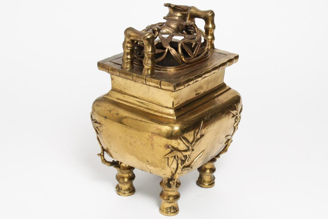 Chinese Gilt Brass Temple Incense Brazier