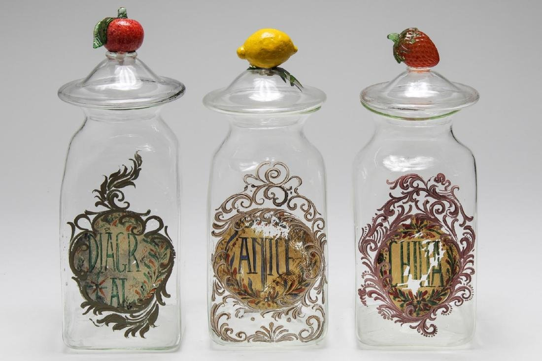 Italian Hand-Blown Glass Kitchen Canister Set, 3