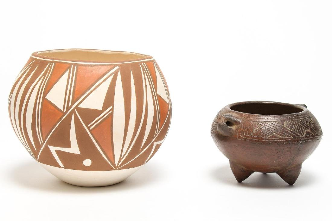 2 Native Pottery Pieces, incl. Pre-Columbian-Style