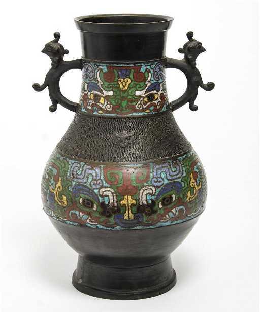Japanese Champleve Enamel Bronze Vase Ca 1920
