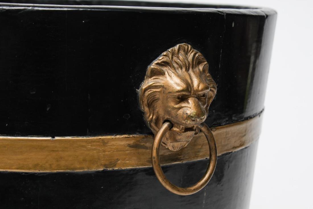 Stamped Metal Plant Stand & Painted Bucket-Vintage - 2