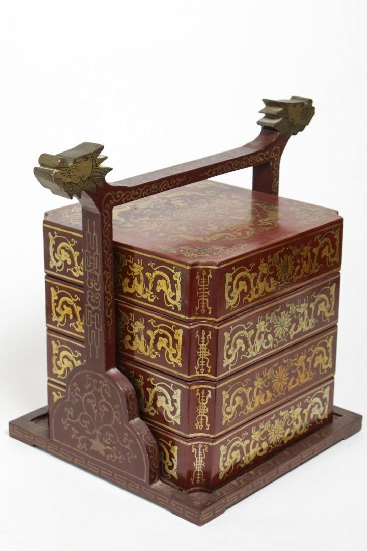 Chinese Wood & Polychrome Wedding Box