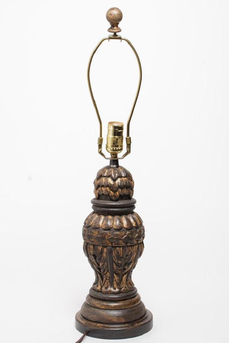 Carved & Gilt-Painted Wood Table Lamp